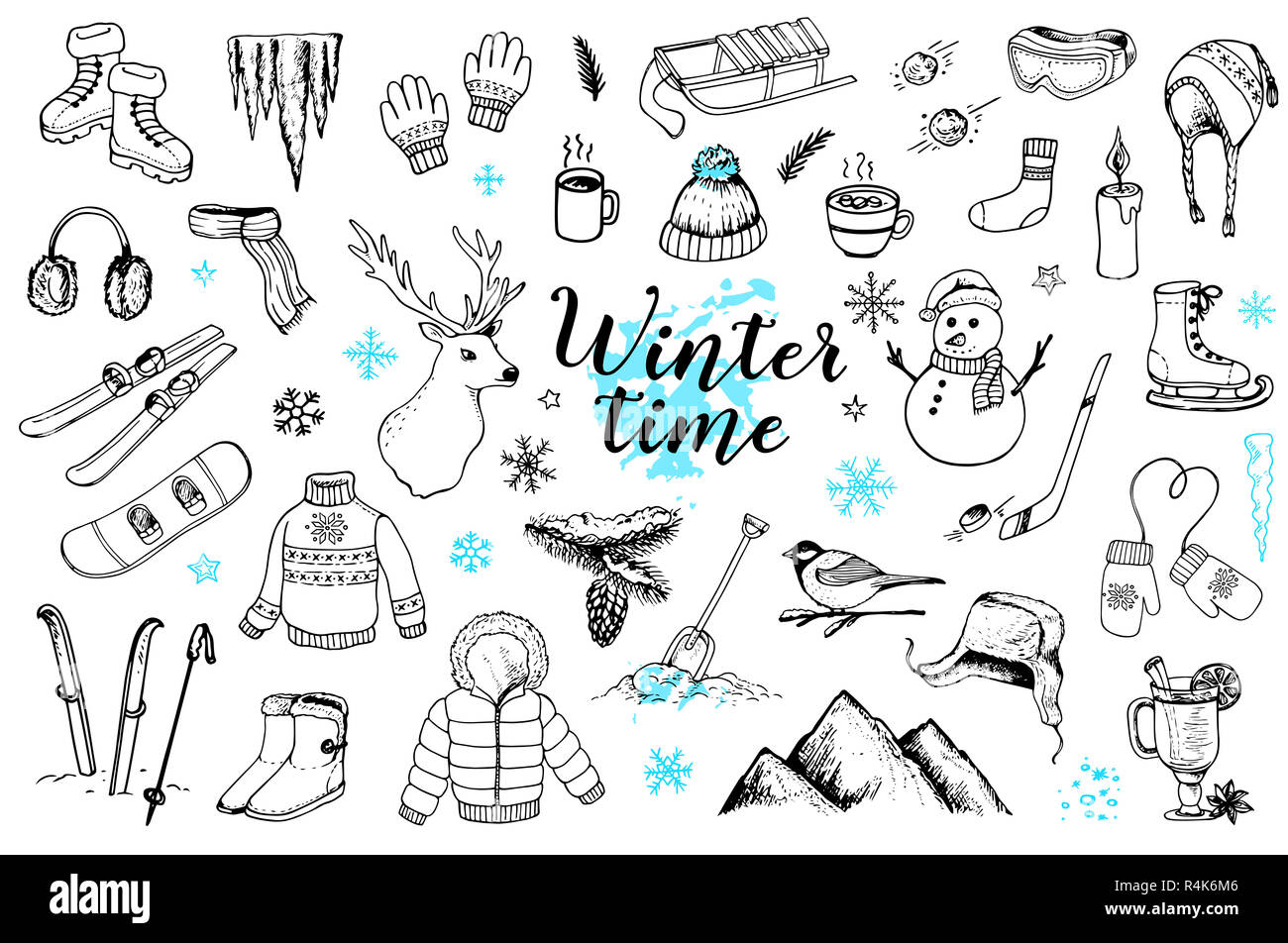 a961f99b Set of hand drawn winter doodles on a white background. Clothing, sports  equipment and nature design elements.