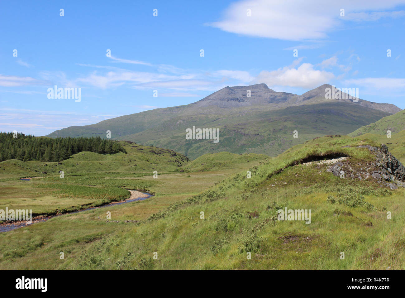 Scenic summer view of Ben More mountain from Glen More, on the picturesque island of Mull in Scotland. - Stock Image