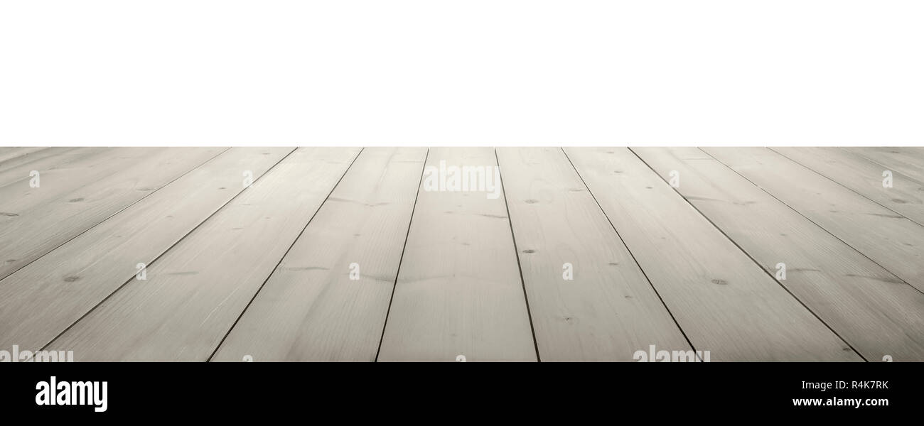 white wooden planks as a table or floor in perspective, isolated on white. - Stock Image