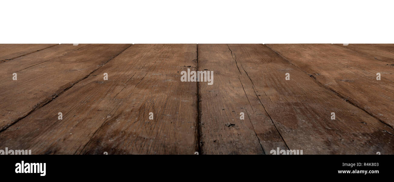 dark rustic wooden planks as a table or floor in perspective, isolated on white. Stock Photo
