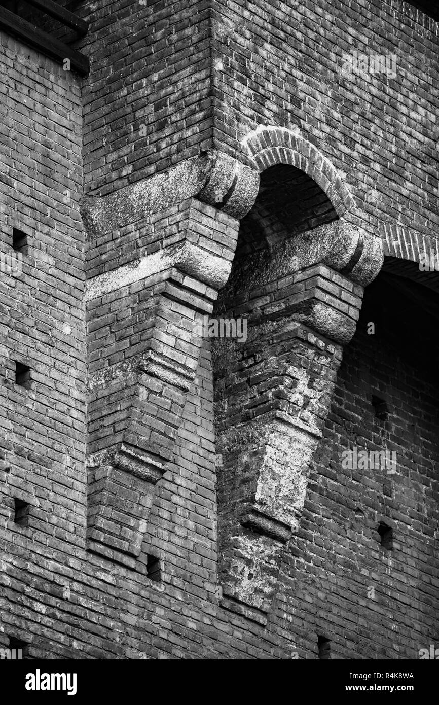 Ancient Sforza Castle in Milan city. Beautiful old Castello Sforzesco in Milano built in 15th century.Classic medieval Italian fortification architect - Stock Image