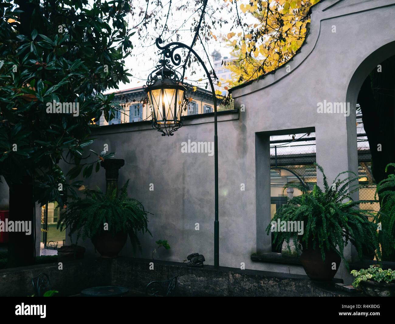 Villa Necchi Campiglio in Milan, lamp outside in the garden - Stock Image
