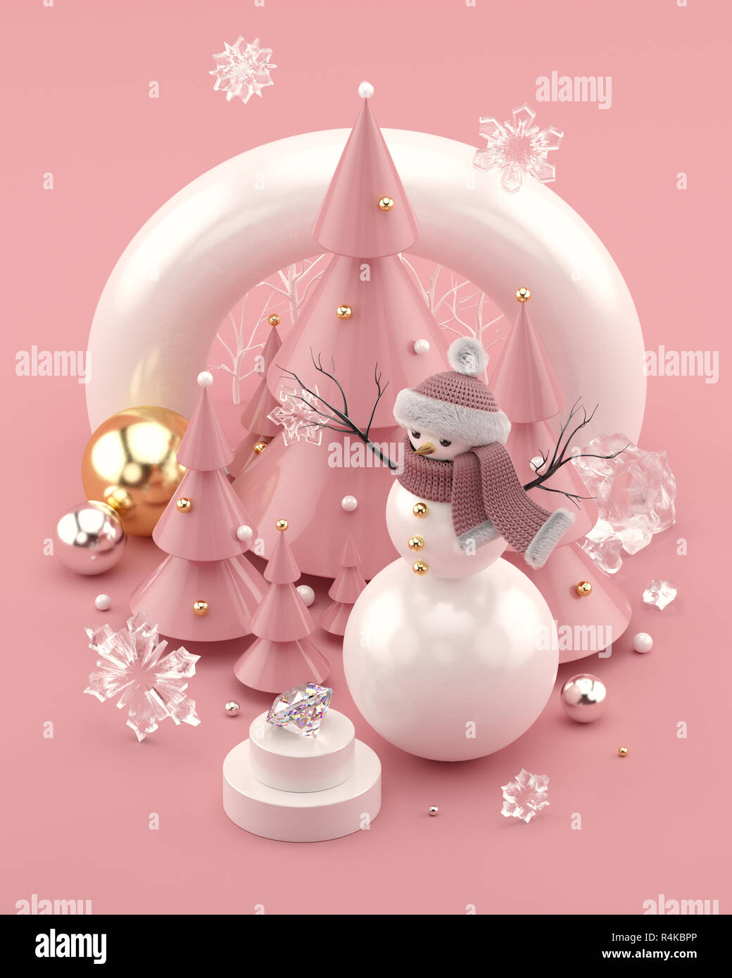 Rose Gold 3D illustration with snowman and decorated Christmas trees. - Stock Image
