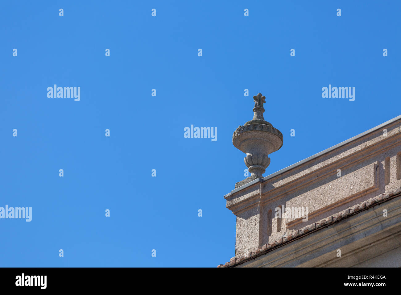 Detail view of pinnacle in traditional Portuguese urban building on Porto city, Portugal - Stock Image