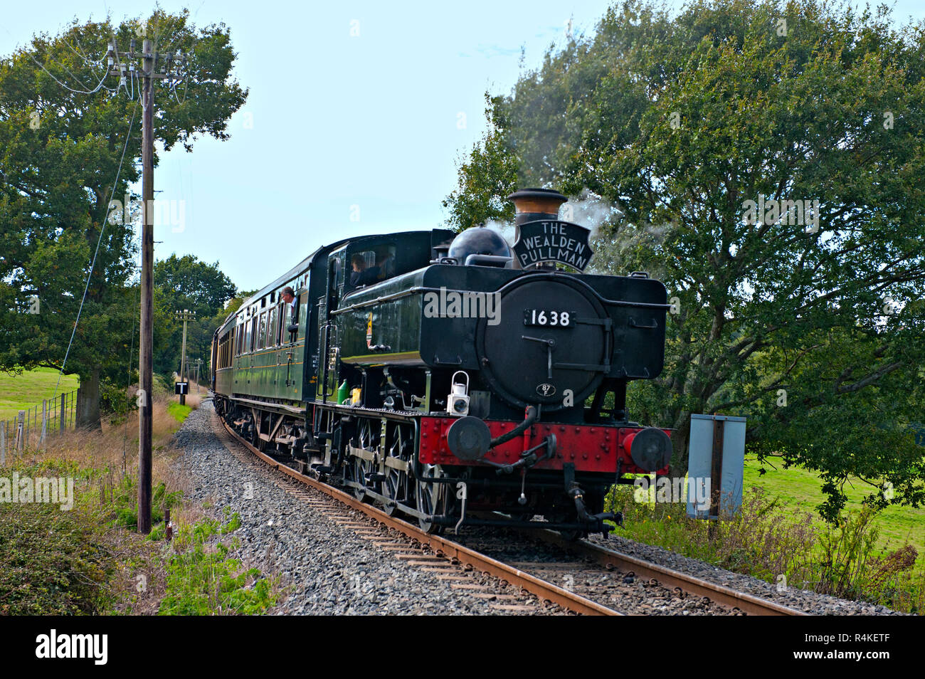 16xx Class 0-6-0 pannier tank loco hauls a train up the steam incline between Rolvenden and Tenterden on the Kent & East Sussex Railway, UK - Stock Image
