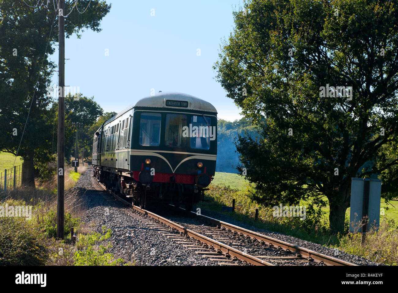 Ex British Railways Class 108 Diesel Mechanical Multiple Unit climbing Tenterden Bank at Cranbrook Road on the Kent & East Sussex Railway - Stock Image