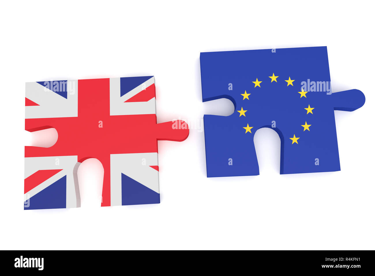 Brexit: Puzzle Pieces Union Jack and EU Flag, 3d illustration - Stock Image