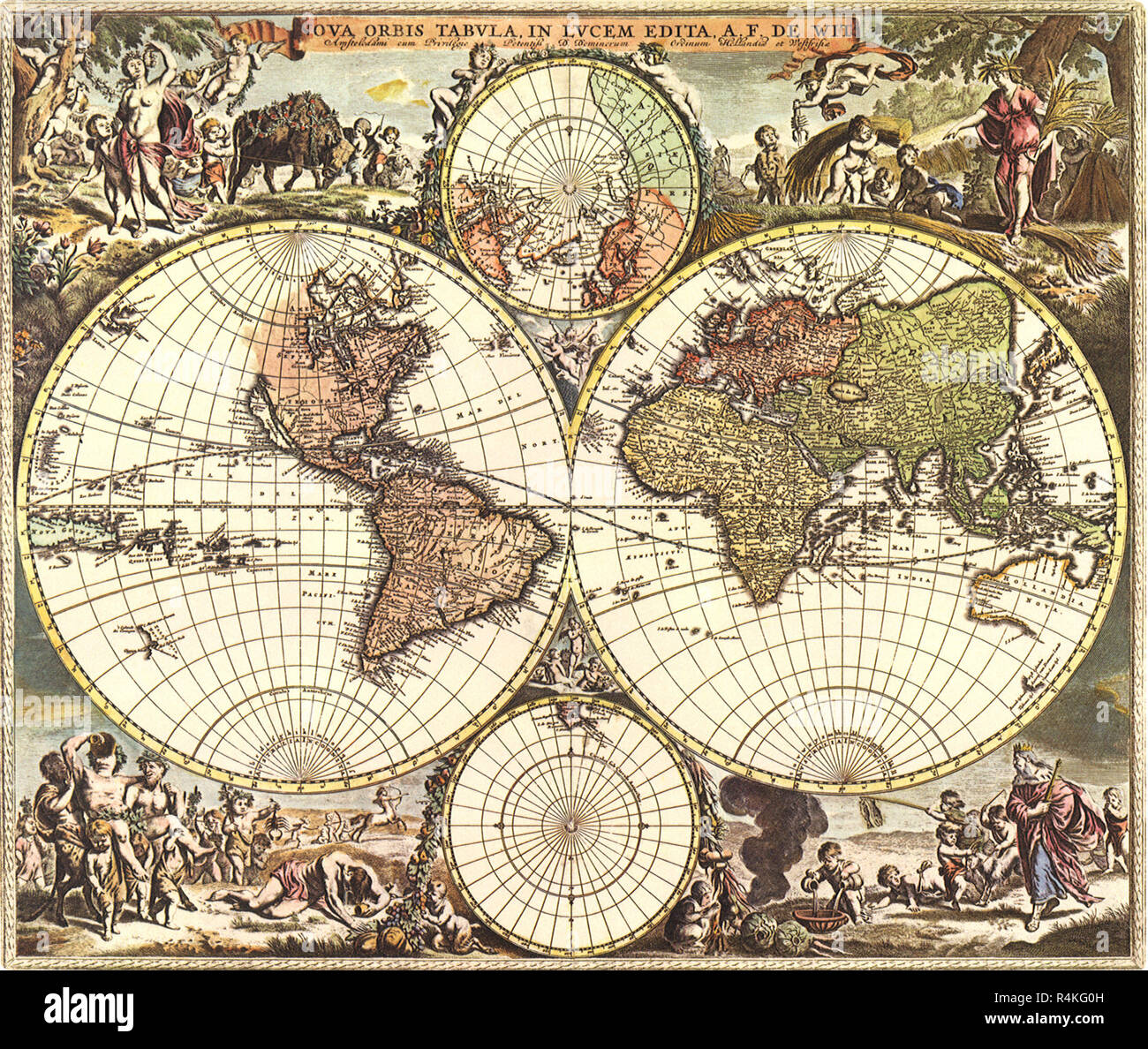 Old World Map 1688, de Wit, Frederick. - Stock Image