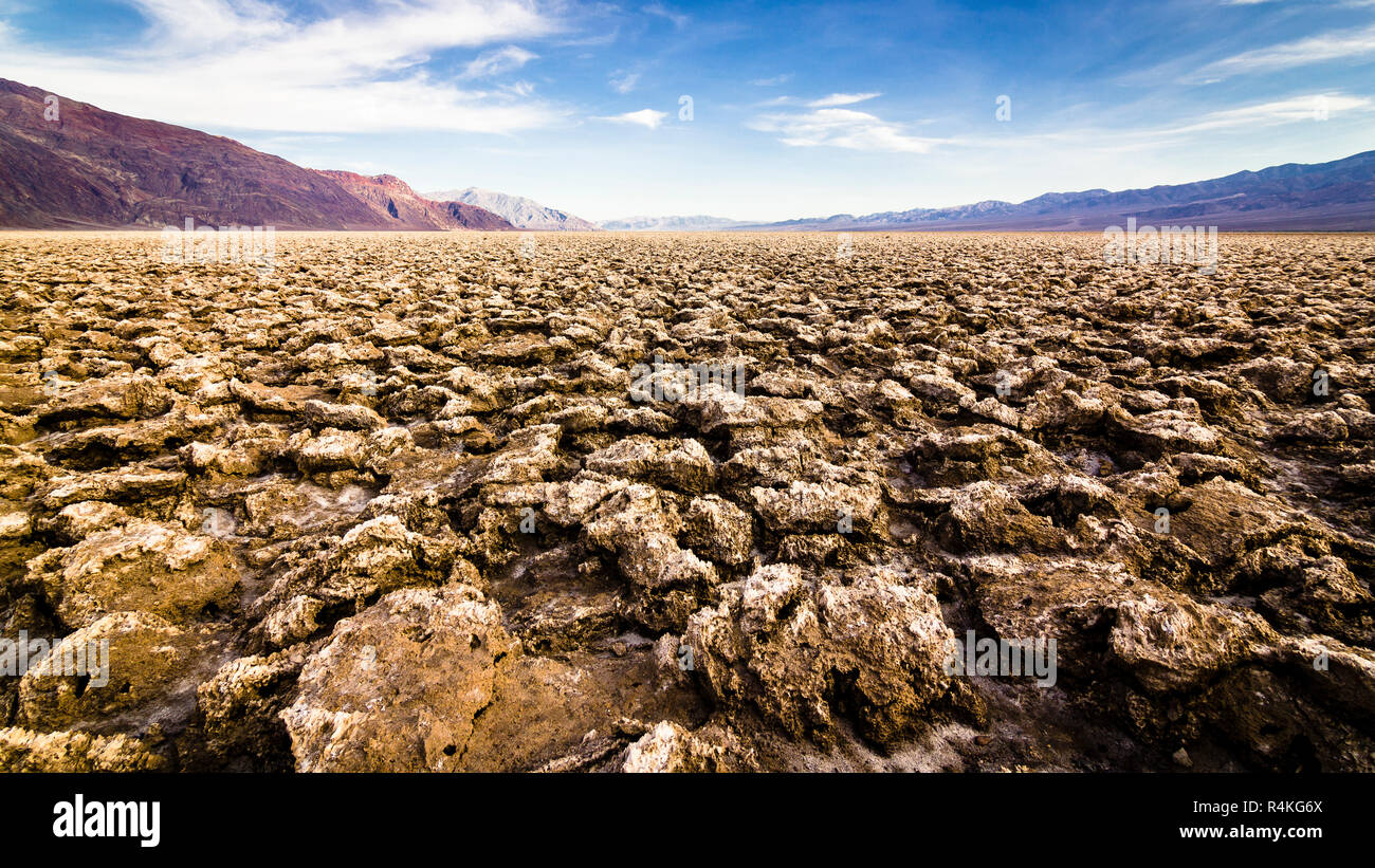 Salt Crystal Formations at the Devil's Golfcourse in the Death Valley, California, US - Stock Image