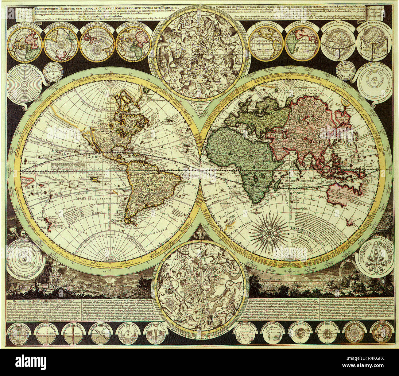 Map of the World 1700, Zumer, A.F Stock Photo: 226623486 - Alamy
