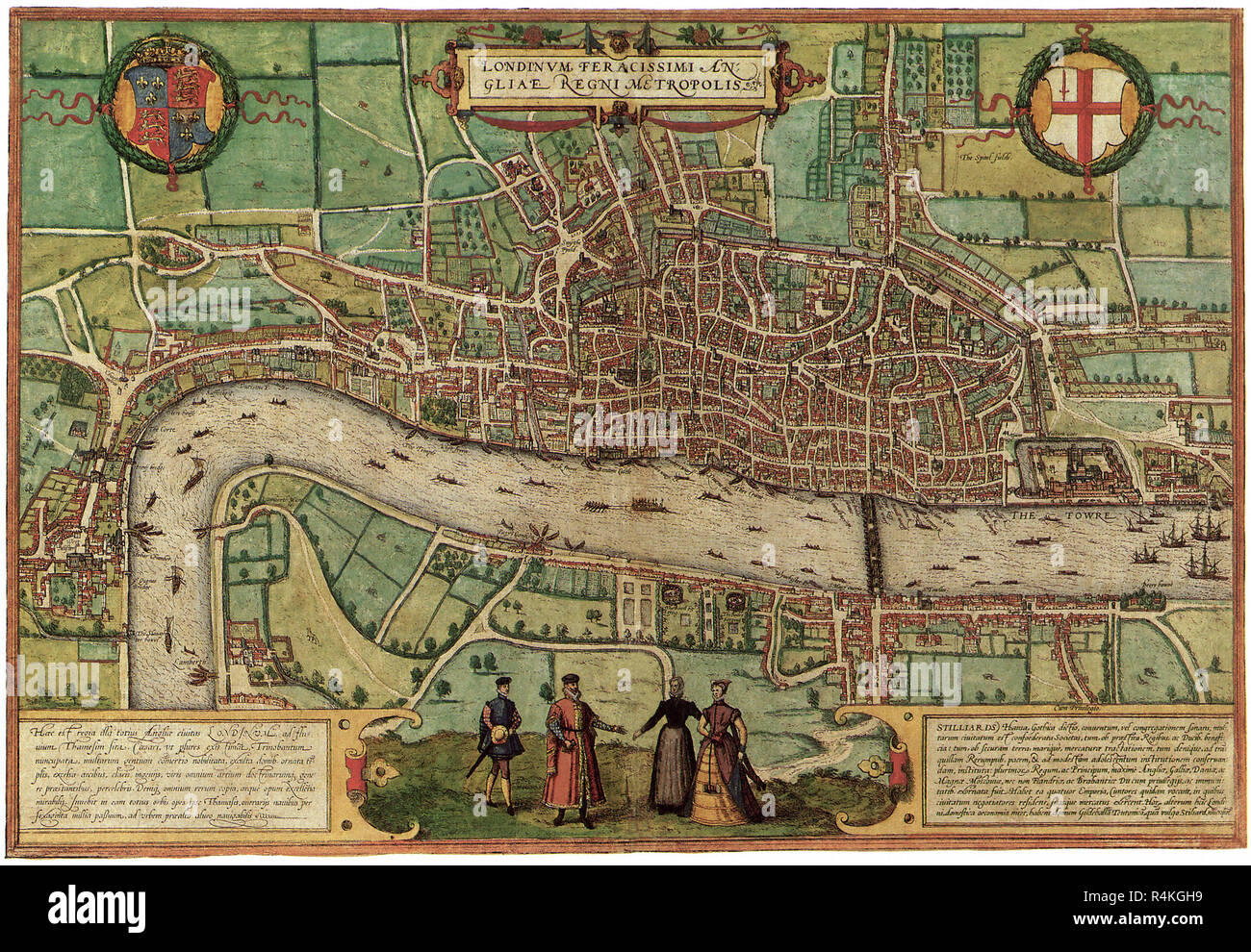 Ancient Map of London 1572, Georg Braun and Frans Hogenber. Stock Photo