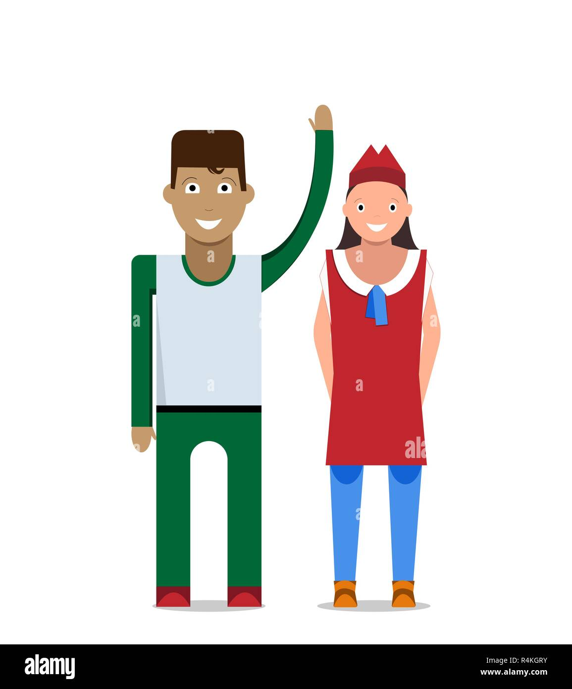 Man and woman on a white background. Vector illustration - Stock Vector