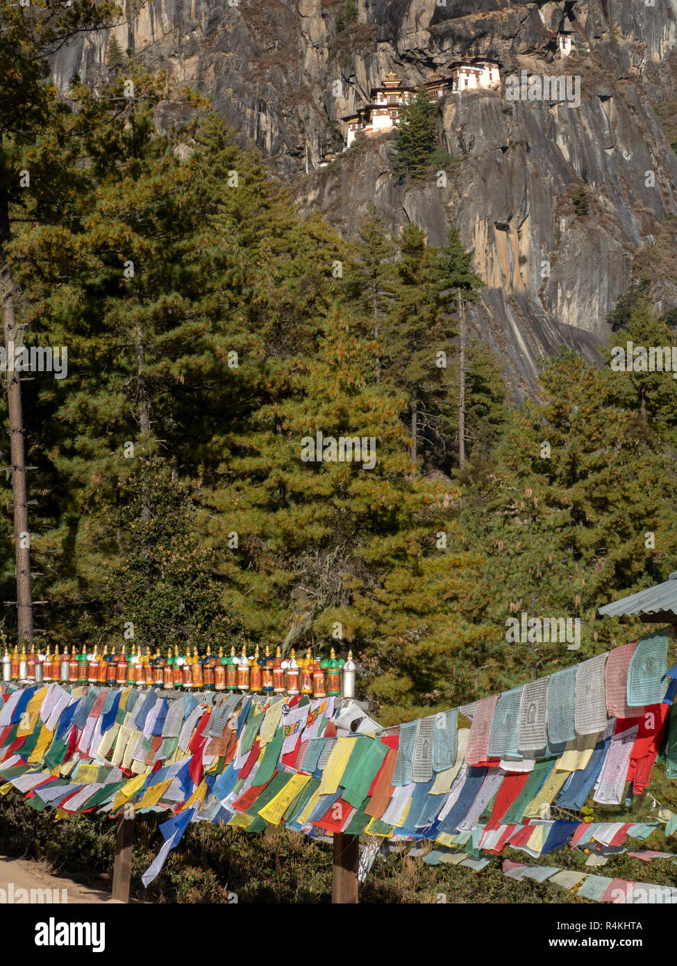 Prayer Flags on the path to Taktsang Monastery, Bhutan - Stock Image