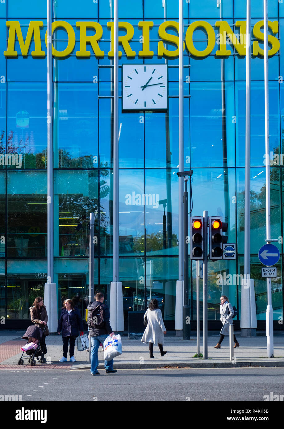 Morrisons supermarket exterior, Crawley, Sussex, UK - Stock Image
