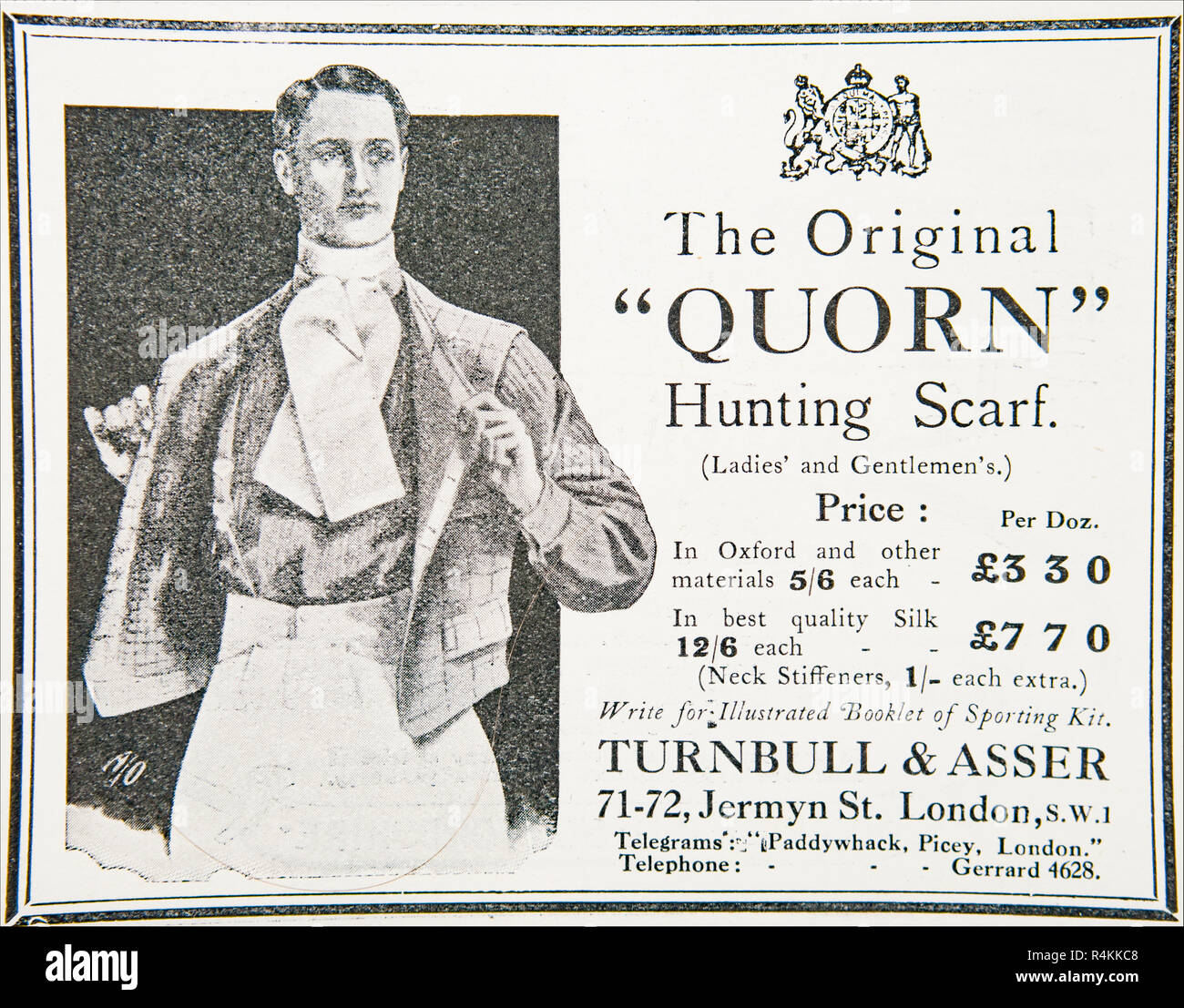 An old advert for Turnbull & Asser Quorn hunting scarf. From an old British magazine from the 1914-1919 period. - Stock Image
