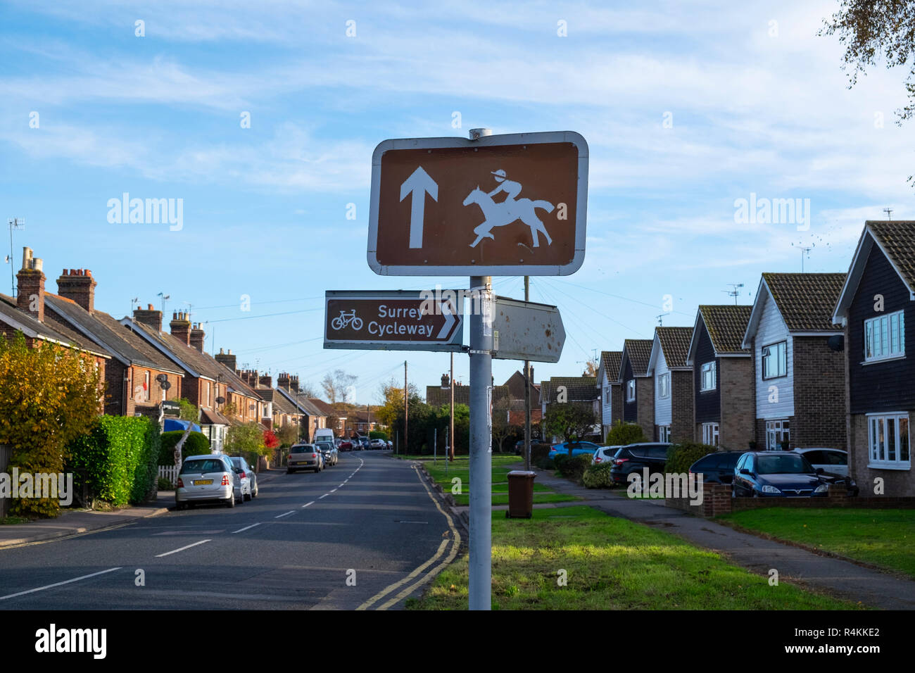 Lingfield horse racing and Surrey Cycleway signs in Lingfield, Surrey, UK - Stock Image