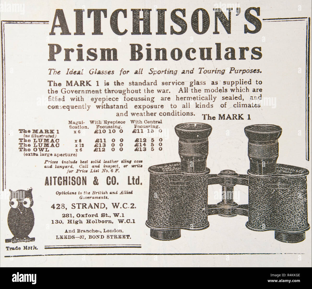 An old advert for Aitchison's Prism Binoculars. From an old British magazine from the 1914-1919 period. - Stock Image