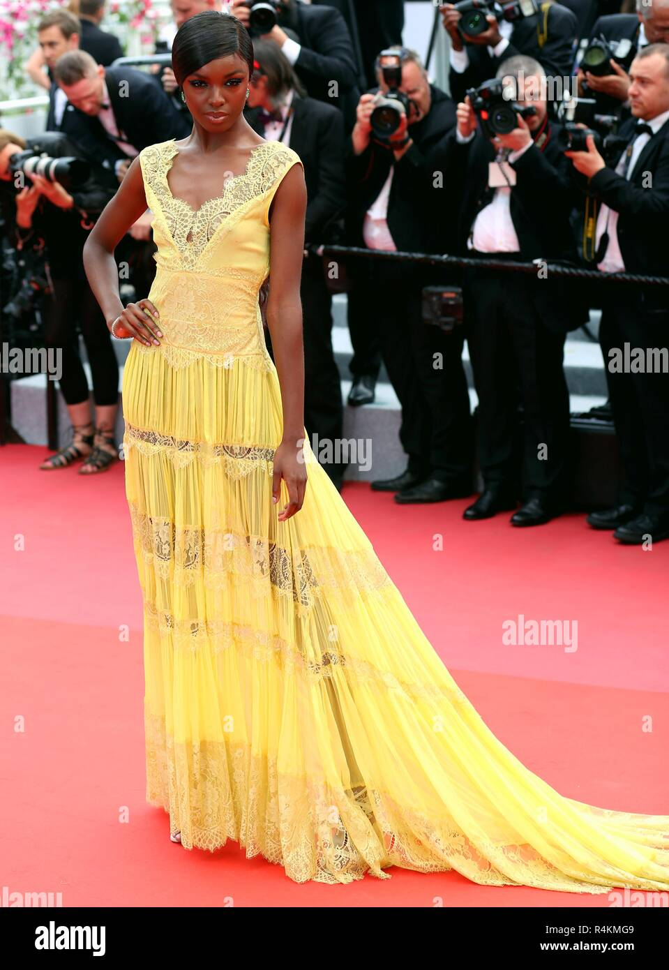 CANNES, FRANCE – MAY 09, 2018: Leomie Anderson walks the red carpet ahead of the 'Yomeddine' screening at the 71st Festival de Cannes - Stock Image