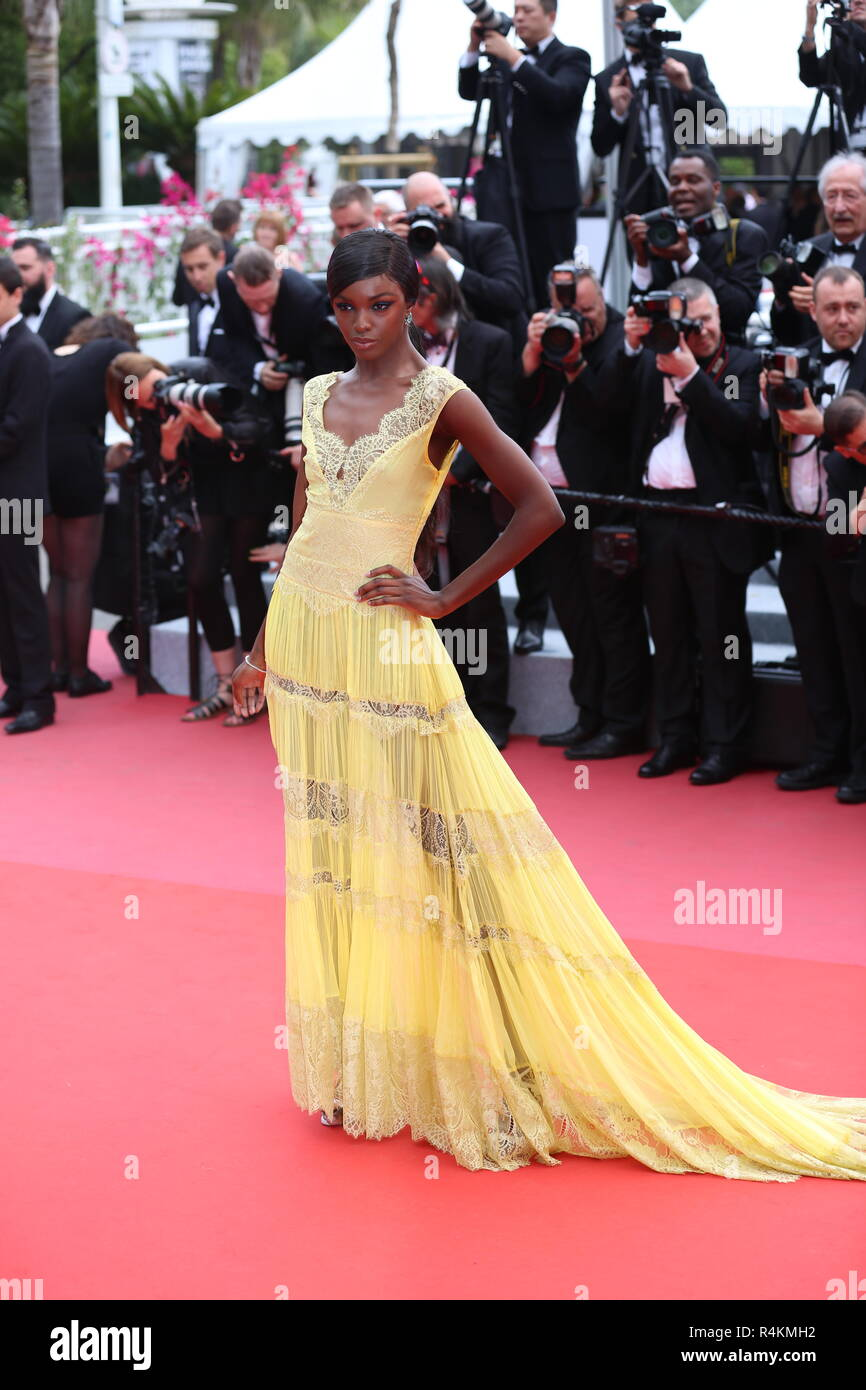 CANNES, FRANCE – MAY 09, 2018: Leomie Anderson walks the red carpet ahead of the 'Yomeddine' screening at the 71st Festival de Cannes Stock Photo