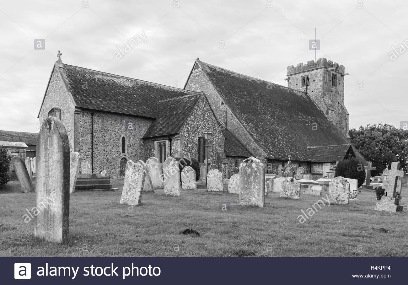 St Mary Magdalene Church, a historic Saxon church in Lyminster, West Sussex, England, UK. Black & White. Saint Mary Magdalene. - Stock Image