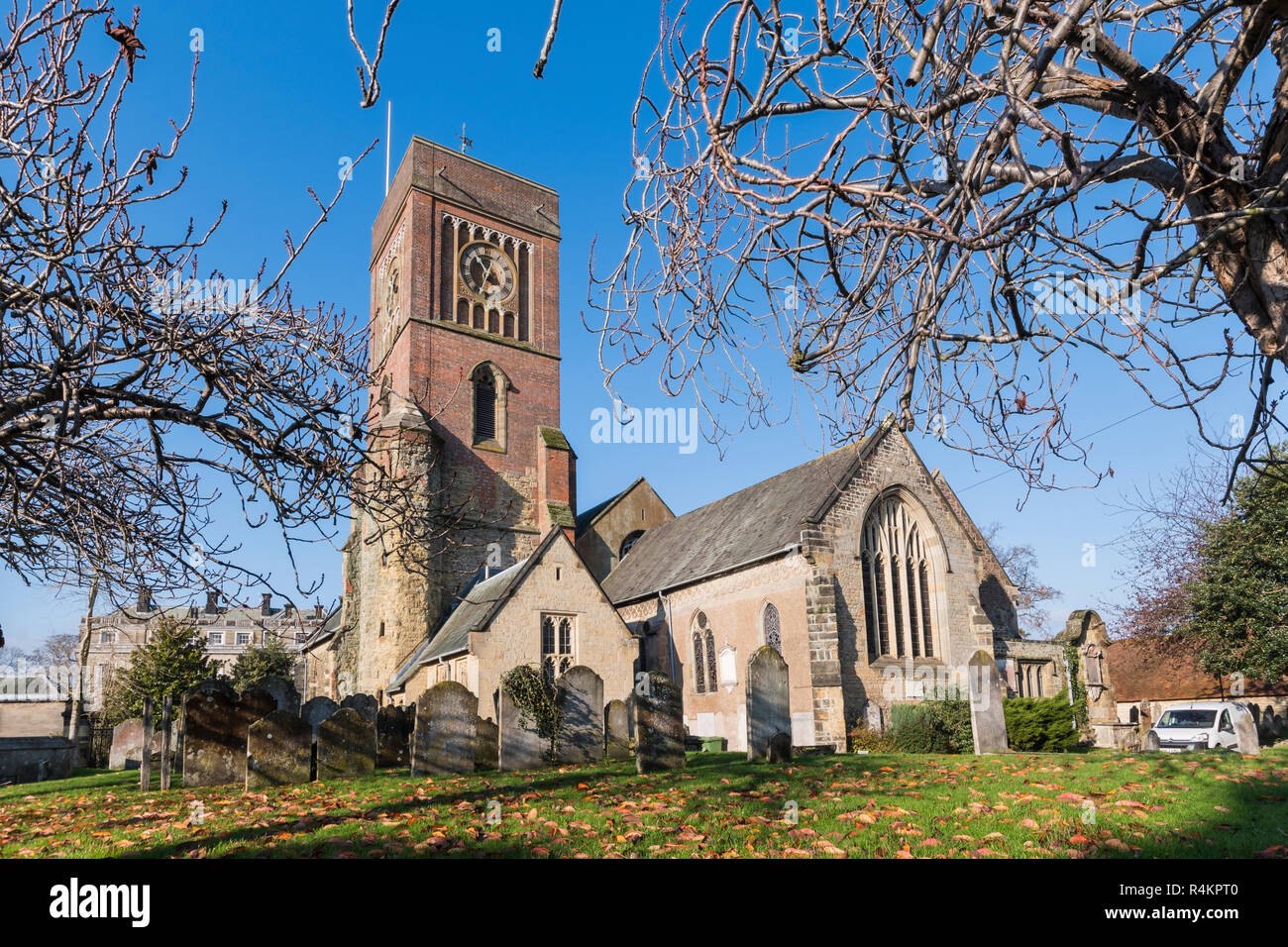 Parish Church of St Mary The Virgin (St Mary's Church) without a spire in Petworth, West Sussex, England, UK. - Stock Image