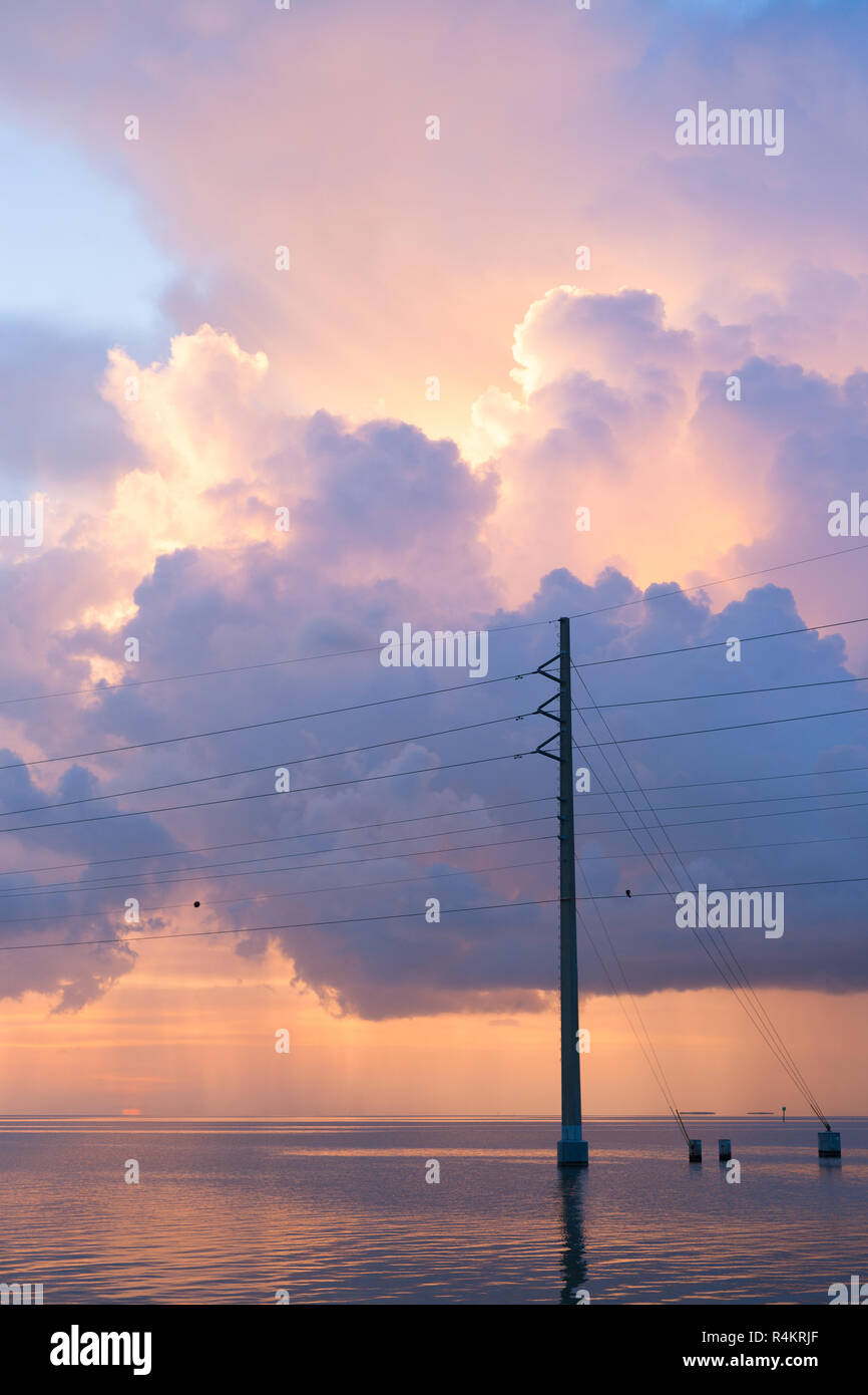 Power Lines over the ocean, Florida, Unites States - Stock Image