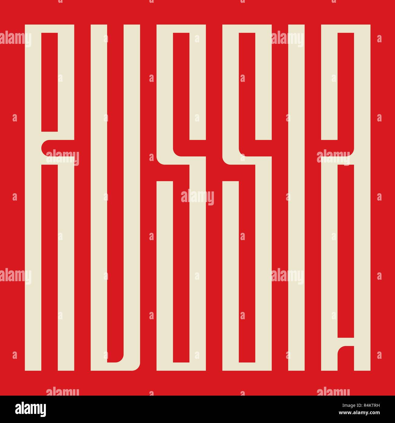 word Russia  in old Slavic calligraphy style - Stock Image