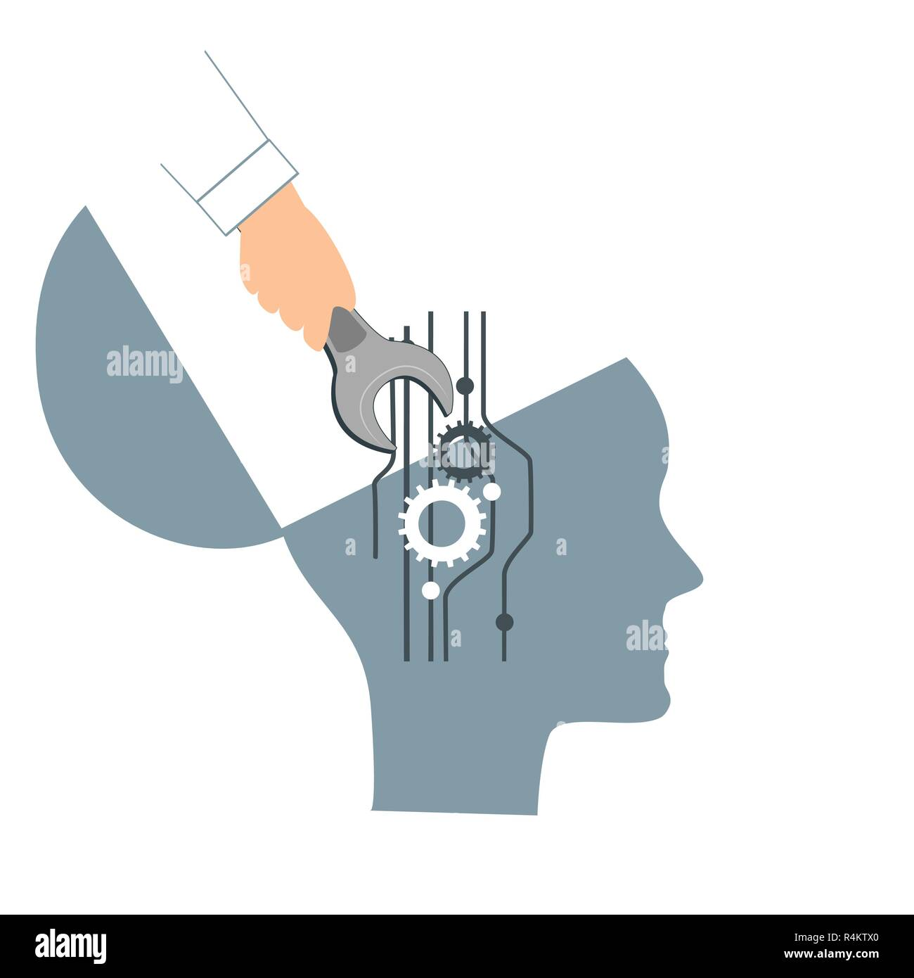 NLP or Neuro-Linguistic Programming concept. Open Human Head and a Hand with a Wrench. Manipulation, Mental health, personal development, and psychotherapy icon - Stock Image