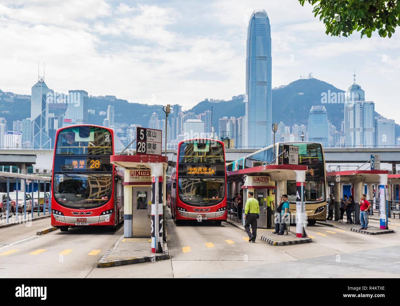 KMB Bus Station, Tsim Sha Tsui, Kowloon, Hong Kong - Stock Image