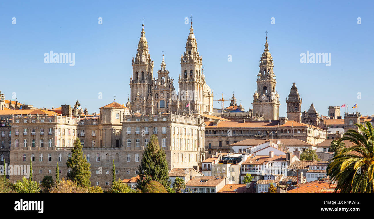 Santiago de Compostela view and amazing Cathedral of Santiago de Compostela with the new restored facade Stock Photo