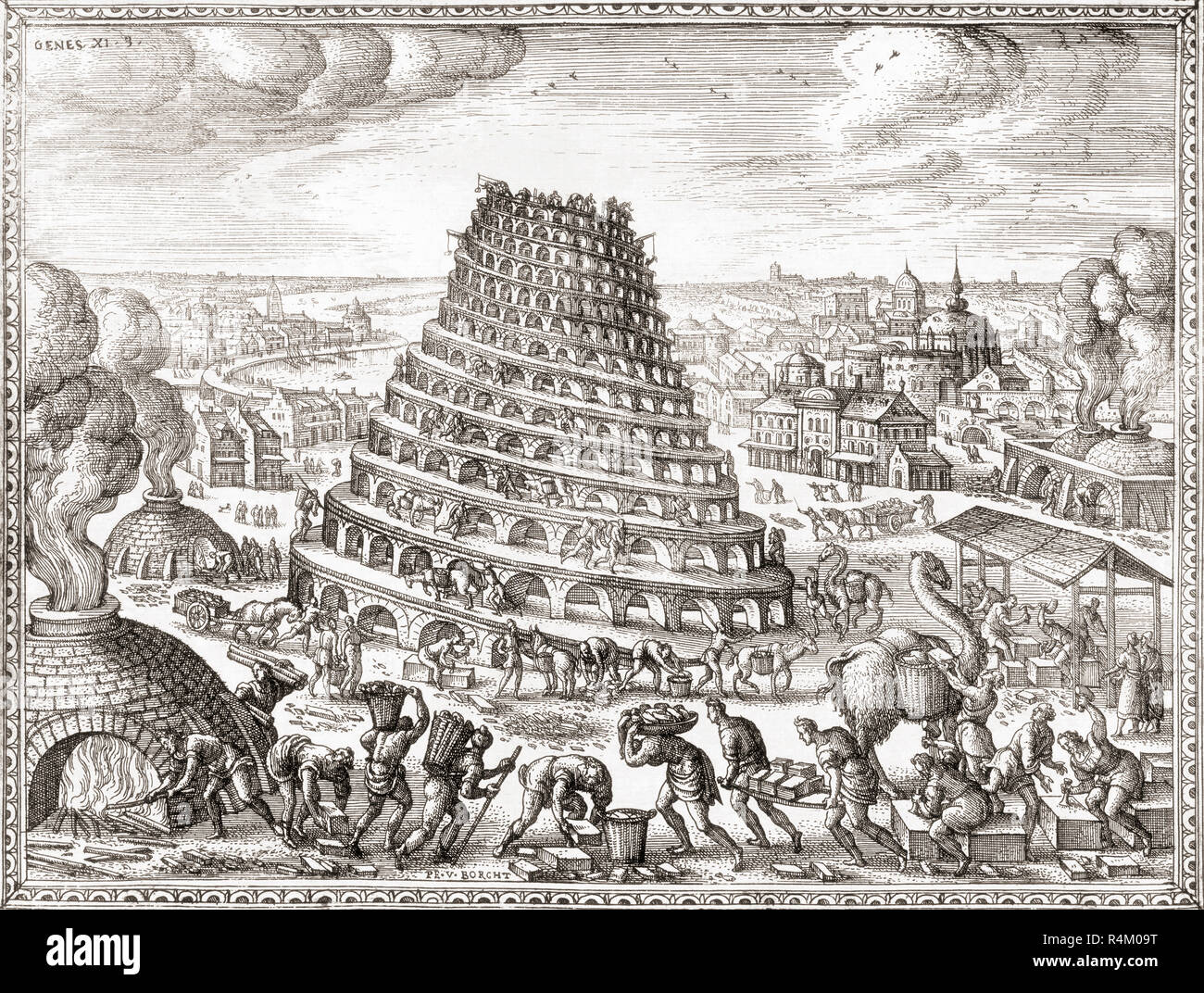 Construction of the Tower of Babel.  After a 17th century print. - Stock Image