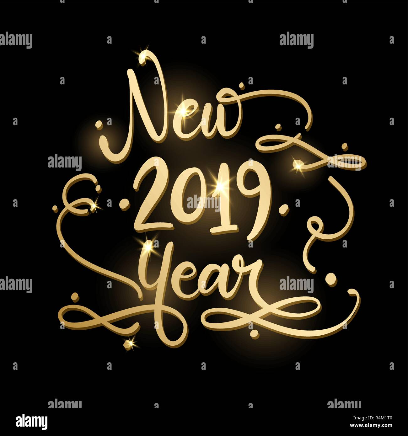 Golden sign Happy New 2019 Year Holiday Vector Illustration. Shiny Gold Lettering Composition With Sparkles - Stock Image