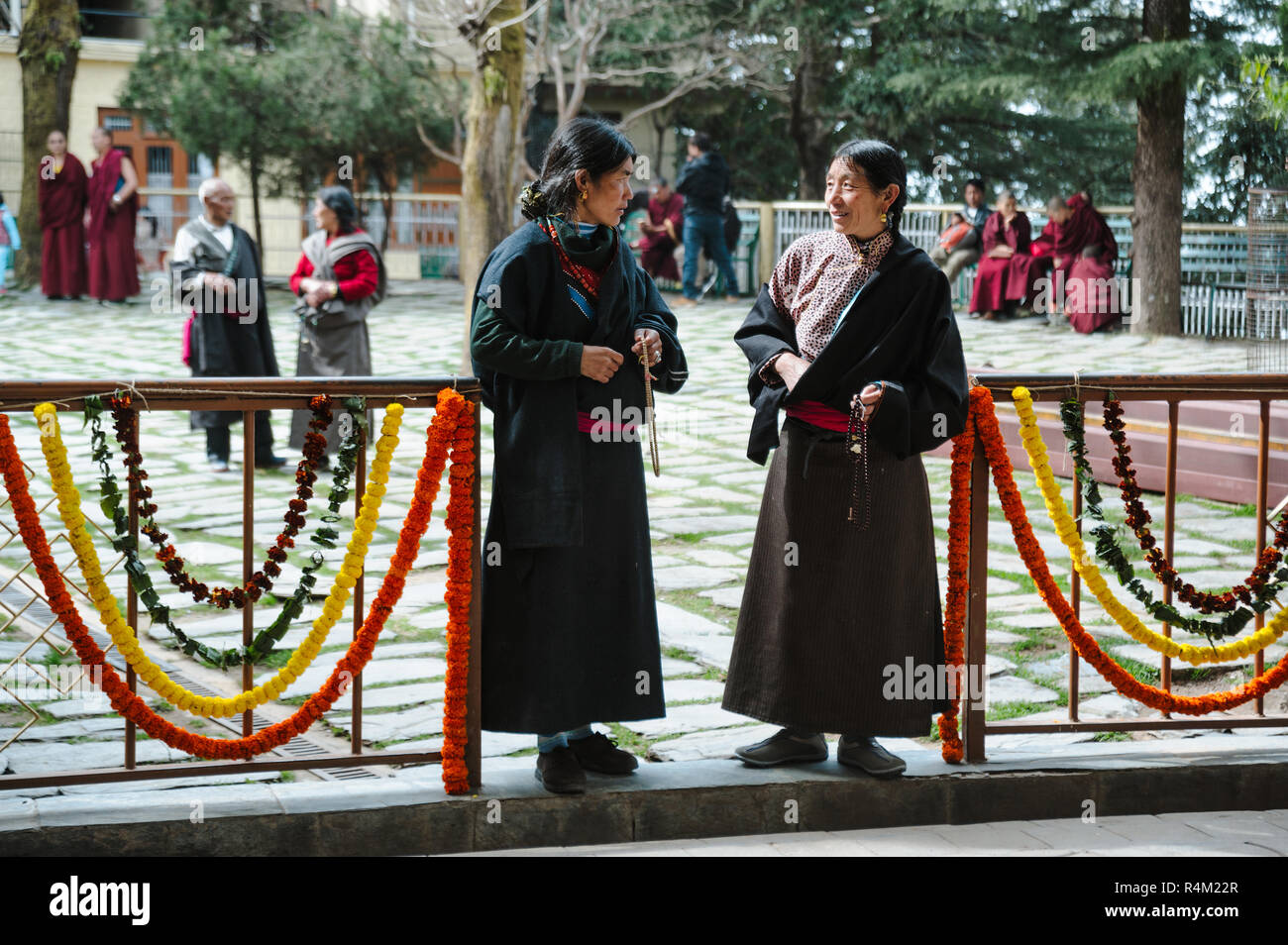 two tibetian womans in traditional clothes. 28 february 2018 India, Dharamsala. - Stock Image