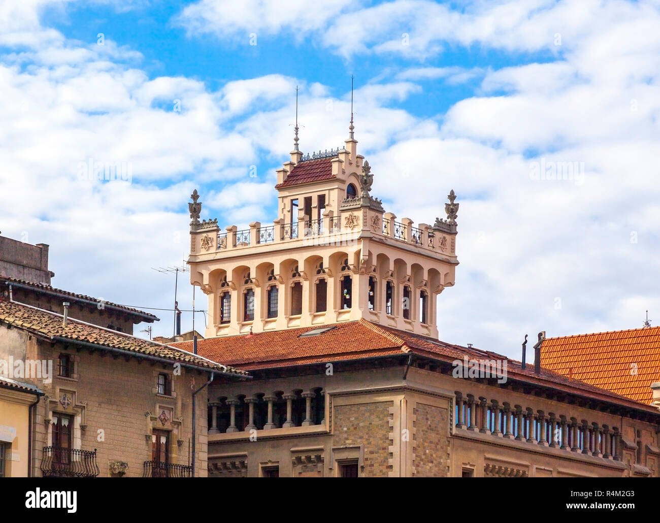 Architectural detail of a building on the main square of Vic, Catalonia, Spain - Stock Image