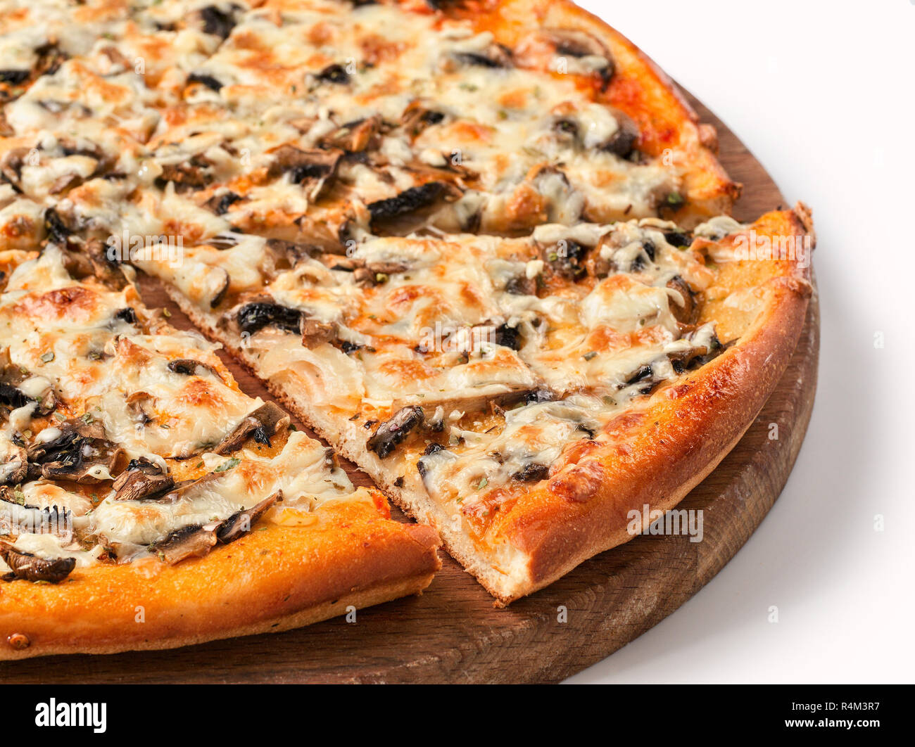 piece of pizza with mushrooms isolated Stock Photo