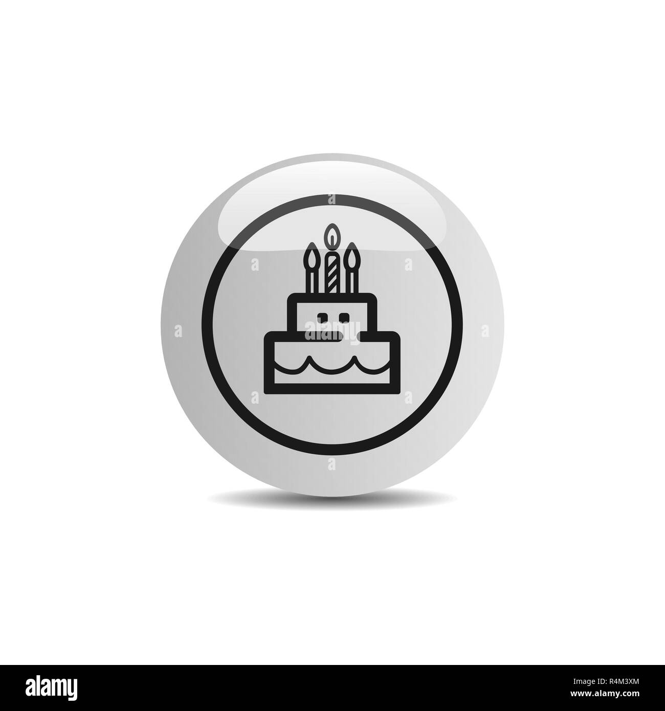 Birthday icon in a button on a white background. Vector illustration - Stock Vector