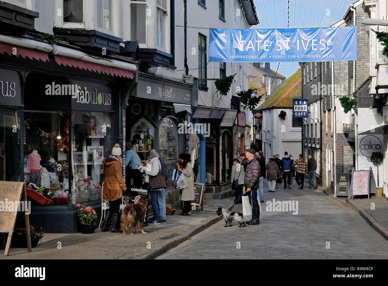 St.Ives, Cornwall, UK, narrow street scenes Stock Photo