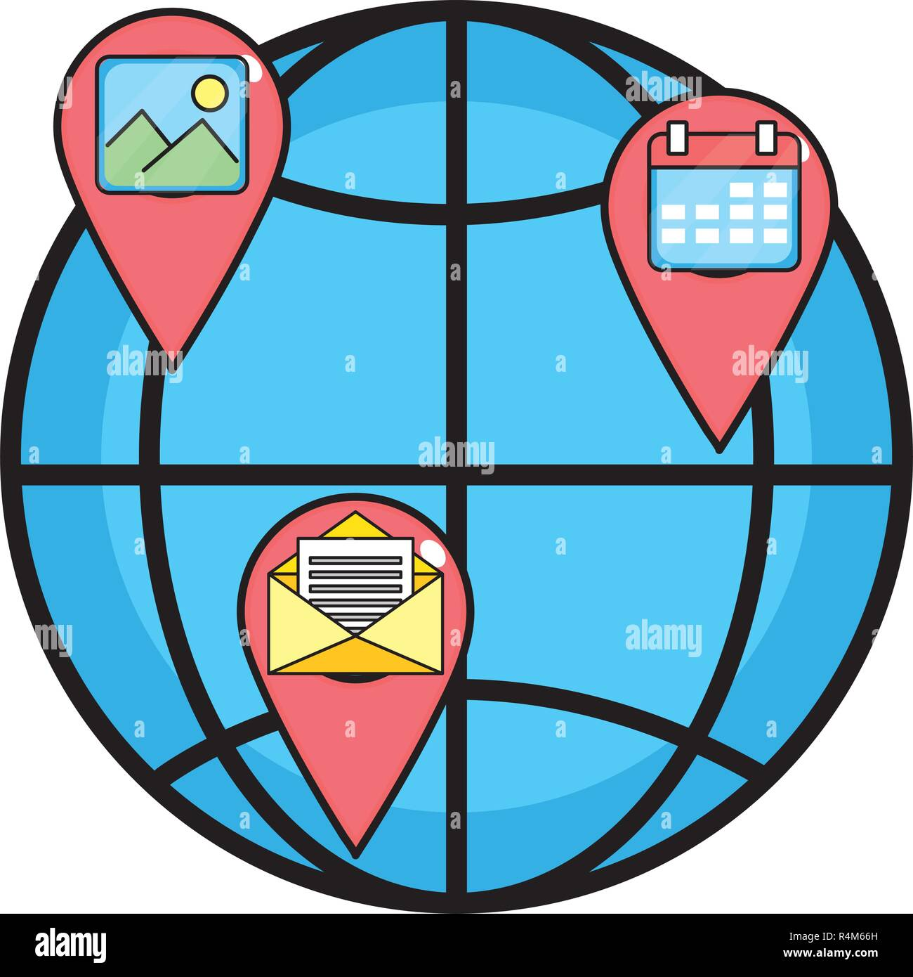 technology web icon and gps locations with email and image with calendar apps cartoon vector illustration graphic design Stock Vector