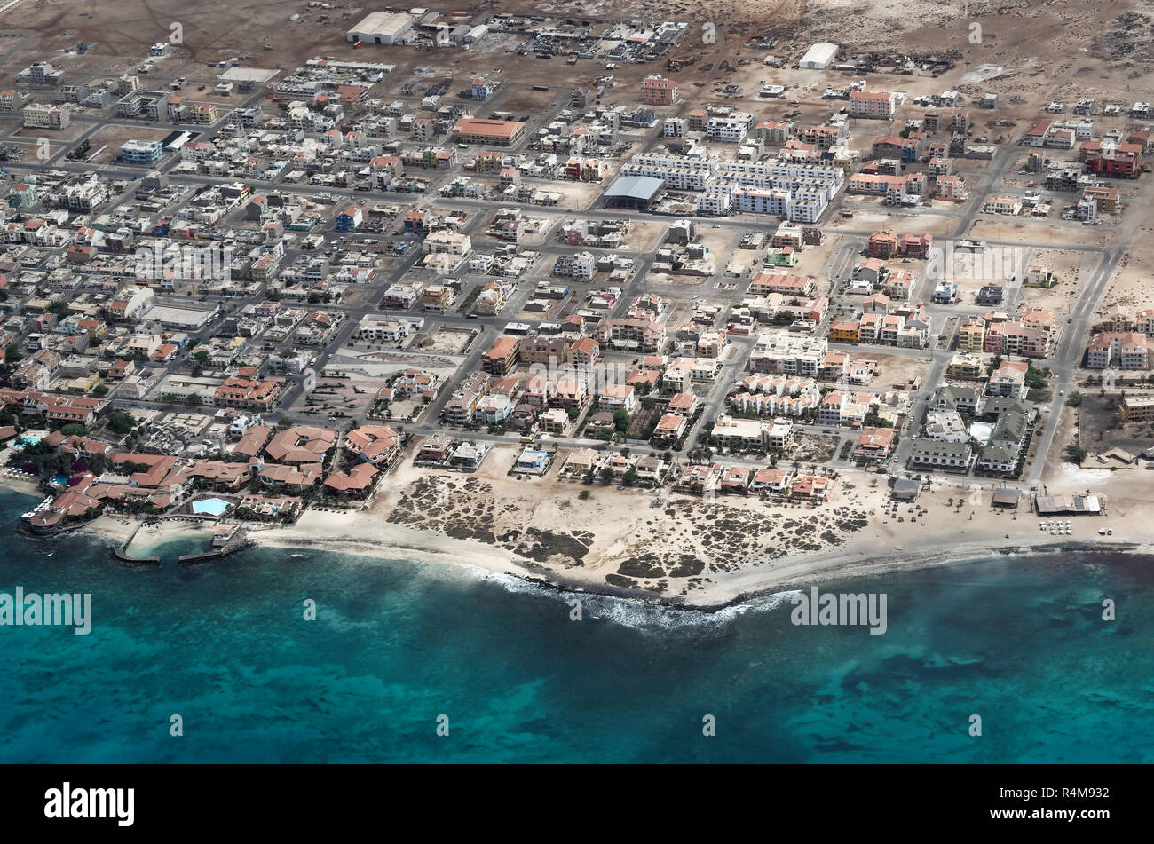 Aerial view at Santa Maria city from airplane. Island Sal, Cape Verde - Stock Image