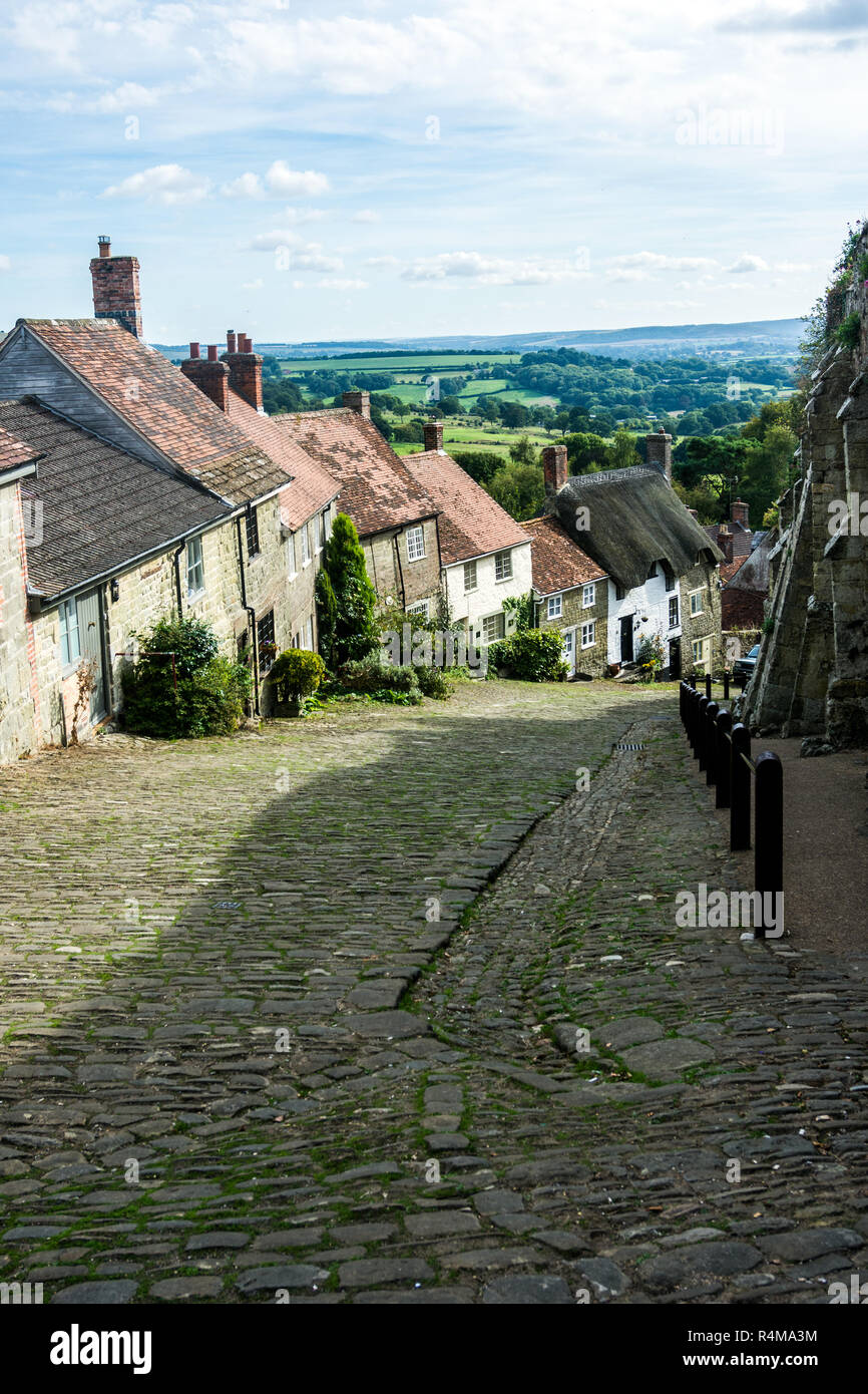 Gold Hill, Shaftesbury, Dorset, - Stock Image