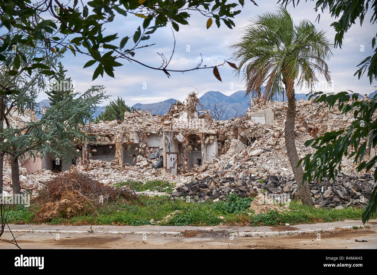 Kotor, Montenegro, November 15, 2018. Rubbles remain of former Fjord Hotel Kotor, demolished to make place for new project, losing a brutalist icon - Stock Image