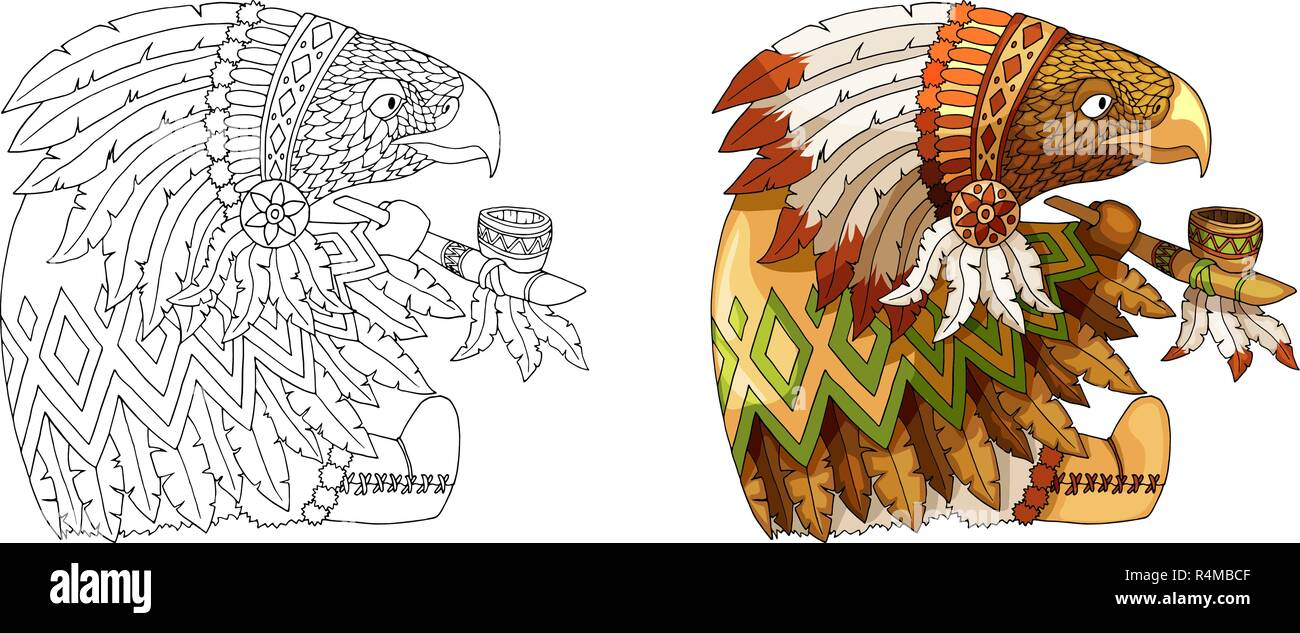Cartoon character american eagle in traditional indian national costume coloring - Stock Image