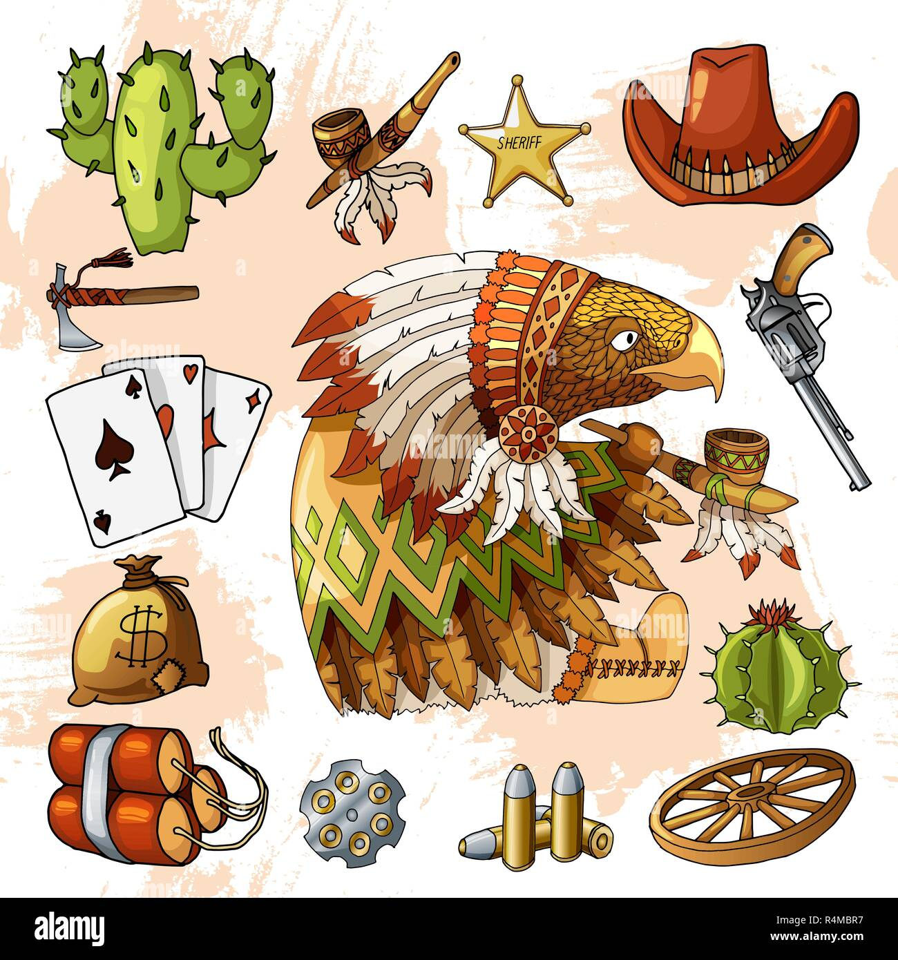 Cartoon character american eagle with set of classic western items design print - Stock Image