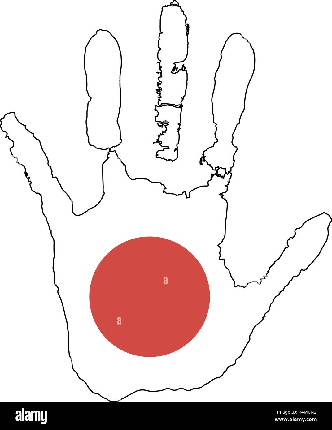 red, white color of the flag. vector handprint in the form of the flag of Japon. red circle - a symbol of the sun - Stock Image