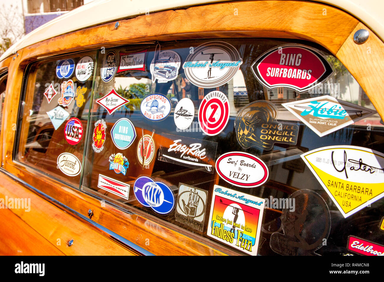 Woodie Stock Photos Images Alamy 1942 1951 Ford Cars For Sale A Collection Of Surfing Related Stickers Decorates The Side Window At