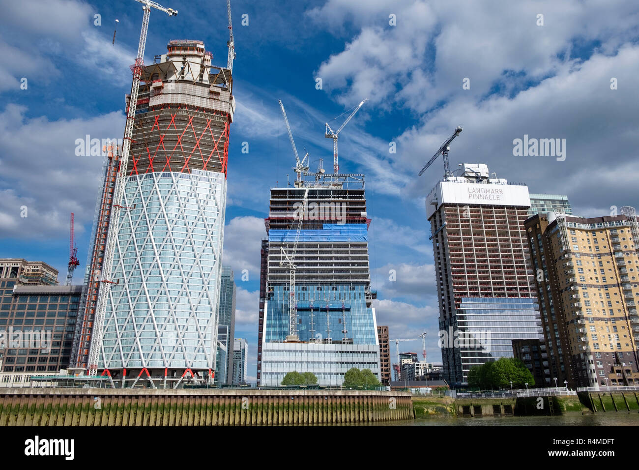 Docklands buildings and construction, London, UK - Stock Image