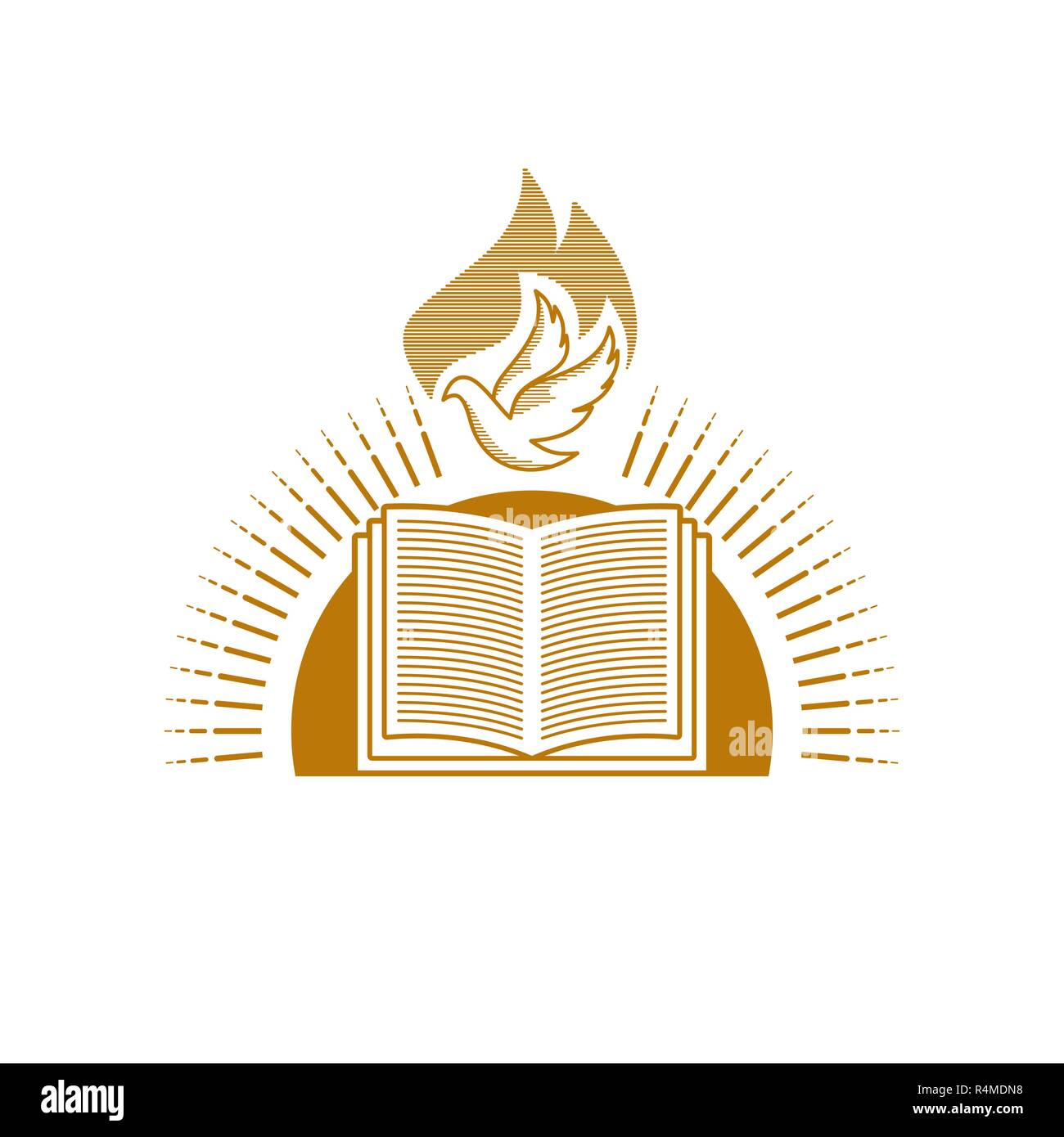 Church logo. Christian symbols. An open Bible and a dove against the backdrop of the sun shines. - Stock Image