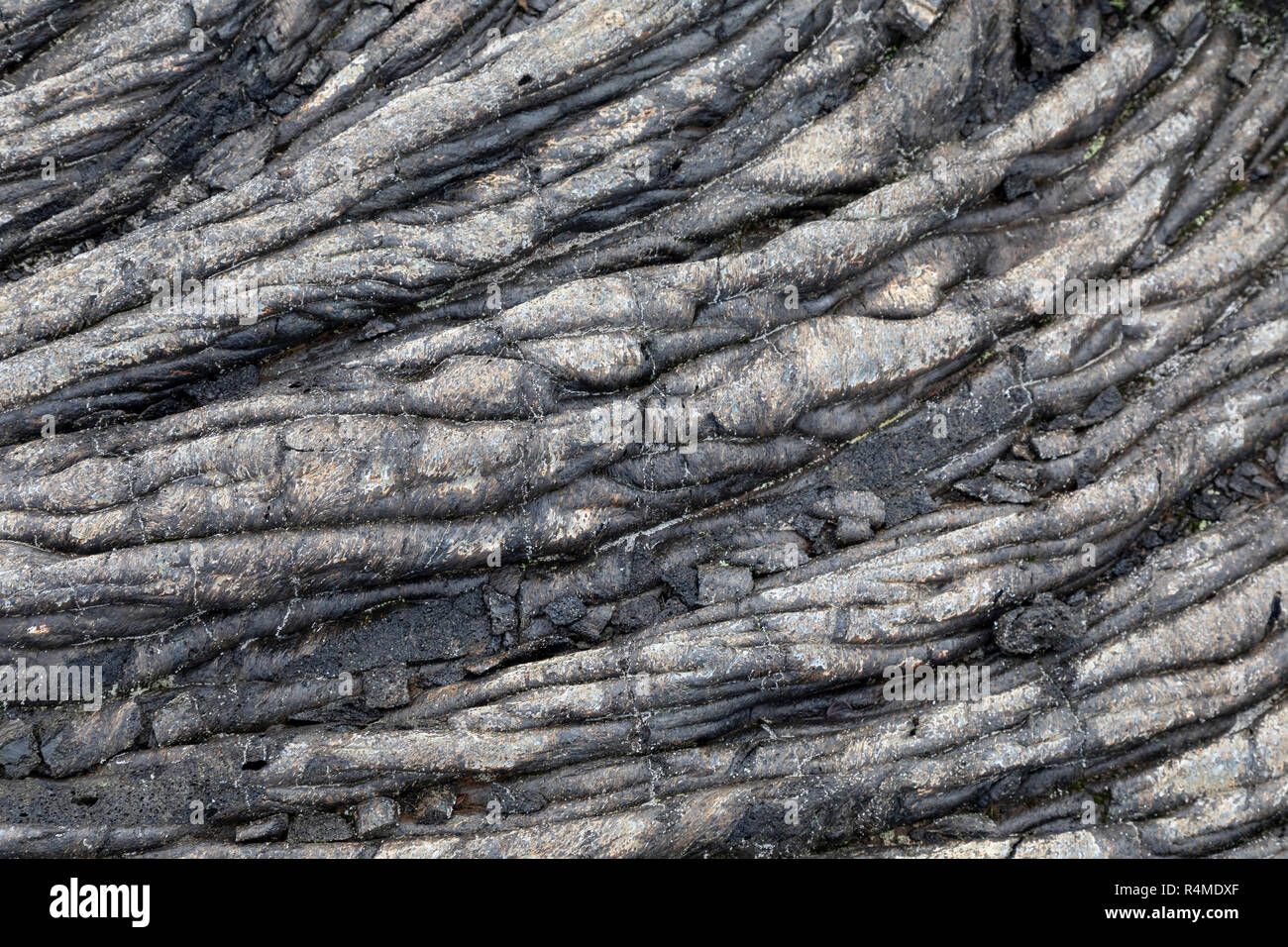 Hawaii Volcanoes National Park, Hawaii - Detail of an old lava flow from the Kilauea volcano. - Stock Image
