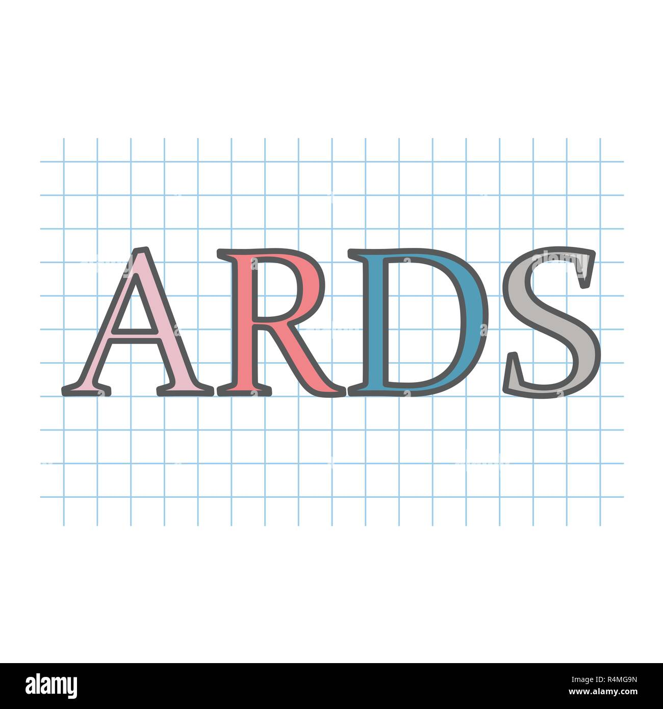 ARDS (Acute Respiratory Distress Syndrome) acronym written on checkered paper-vector illustration - Stock Vector