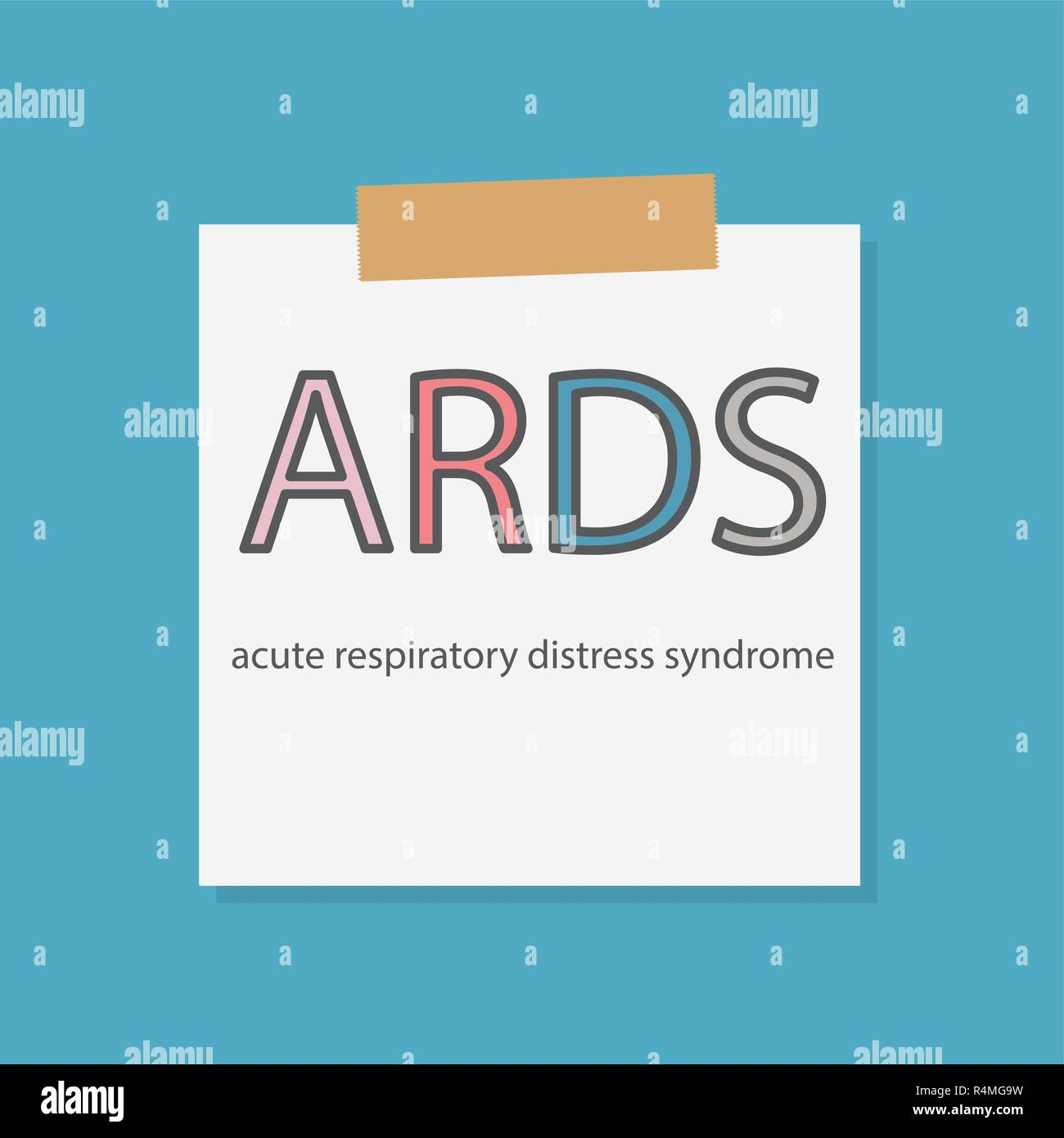 ARDS Acute Respiratory Distress Syndrome written in a notebook paper- vector illustration - Stock Vector